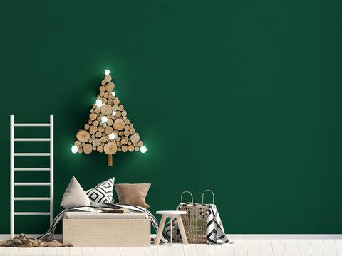 Christmas child's room. playroom. modern style. 3d illustration. Mock up wall