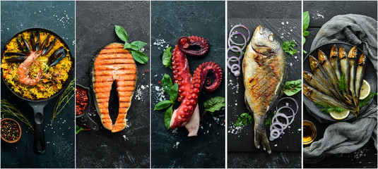 Seafood dishes: salmon, Dorado, octopus, mussels. Photo collage. Banner.