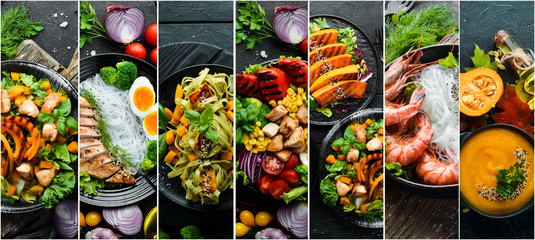 Set of dishes. Seafood, meat and vegetables. Photo collage. Banner.