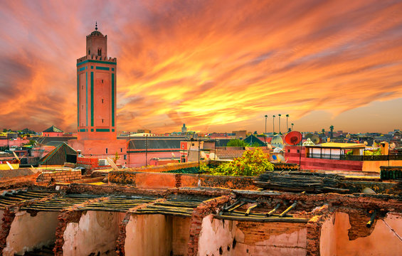 Panoramic sunset view of Marrakech and old medina, Morocco