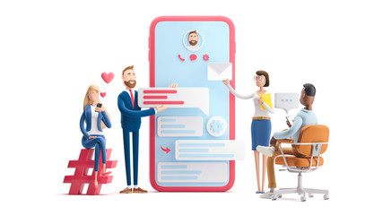 Fototapeta Application development and social media concept. 3d illustration.  Cartoon characters. Business teamwork concept on white background. obraz