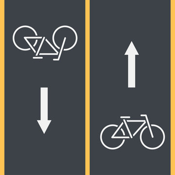 Bike path and Bicycle symbol on asphalt. Painted Mark track movement in both directions. Urban street and parks element. Vector Illustration
