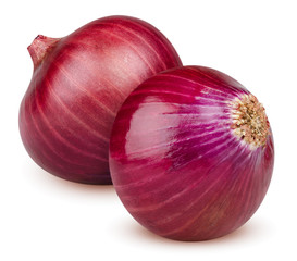 Isolated onions. Two whole red onion isolated on white background with clipping path