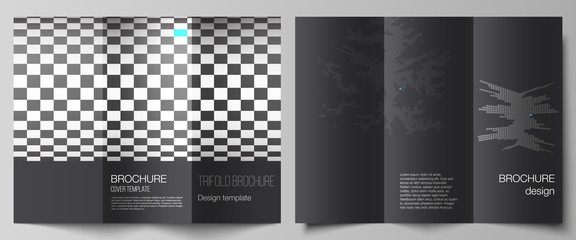 The minimal vector illustration of editable layouts. Modern creative covers design templates for trifold brochure or flyer. Abstract big data visualization concept backgrounds with cubes. Wall mural