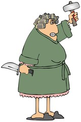 https://thumbs.dreamstime.com/x/none-163551127.jpgIllustration of an irate woman wearing a bathrobe holding a large knife and sledgehammer.