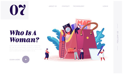 Ladies Stuff Website Landing Page. Tiny Women Characters Walk around of Huge Female Bag with Things and Variety of Personal Belongings and Cosmetics Web Page Banner. Cartoon Flat Vector Illustration