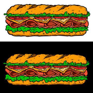 Illustration of submarine sandwich. Design element for poster, card, banner, sign, flyer.Vector illustration