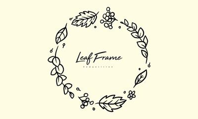 Autumn crop composition for lettering decorative frames, rounded ornament leaves hand drawn illustration lineart, vector elements for romantic and vintage design