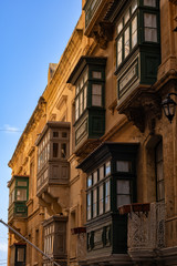 Valletta Houses With Traditional Maltese Balconies