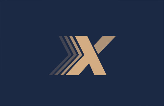 alphabet X blue letter brown logo icon for company and business design
