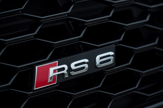 Mulhouse - France - 10 November 2019 - Closeup of Audi RS 6 sign on front car parked in the street