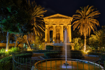 Lower Barrakka Gardens At Night In Valletta