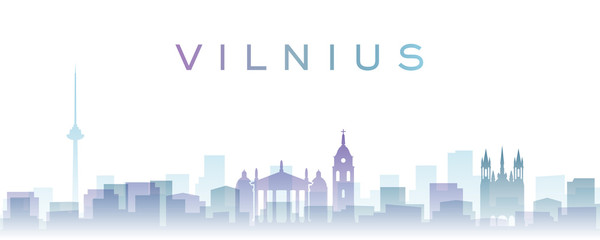 Vilnius Transparent Layers Gradient Landmarks Skyline Fotomurales