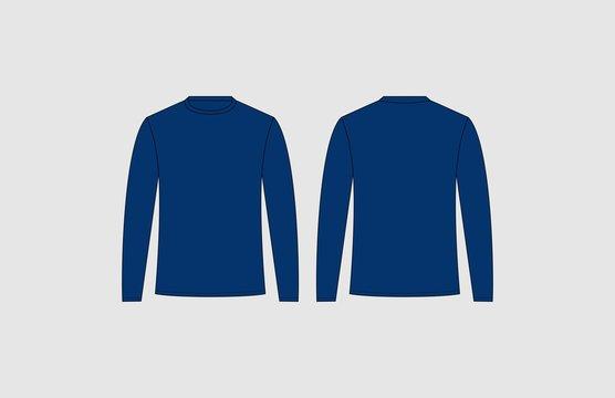 Blue long sleeve tshirt design template