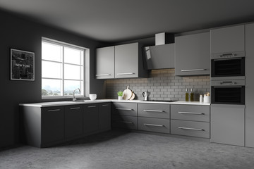 Dark gray kitchen corner, counters and picture
