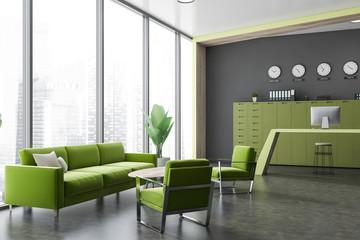 Corner of gray office waiting room