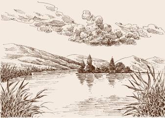 Fotorolgordijn Wit Lake landscape sketch, water vegetation and cloudy sky hand drawing