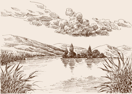 Lake landscape sketch, water vegetation and cloudy sky hand drawing