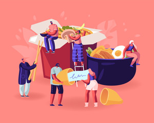 Chinese Food Concept. Male and Female Characters Eating Noodles with Chopsticks, Reading Prediction from Wish Cookies on Paper Piece. Tiny People and Huge Dishes. Cartoon Flat Vector Illustration