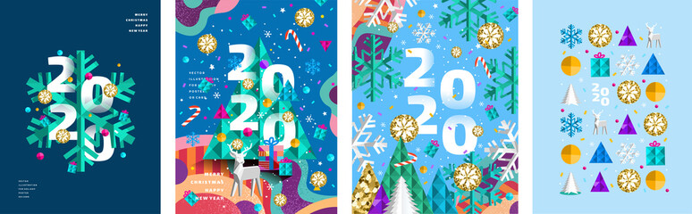 2020! Merry Christmas and a happy new year! Modern abstract geometrical illustration of a Christmas tree, snowflake and toys for the holiday poster, banner, card, background or pattern Fotomurales