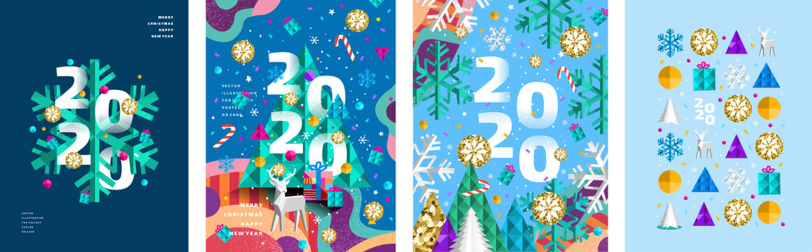 2020! Merry Christmas and a happy new year! Modern abstract geometrical illustration of a Christmas tree, snowflake and toys for the holiday poster, banner, card, background or pattern