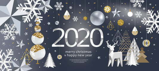 2020! Merry Christmas and a happy new year! Vector abstract background for banner, poster or greeting card. Illustrations of snowflake, Christmas tree toy, Christmas tree and deer.