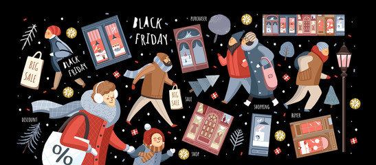 Black Friday! Vector cute illustration of people on the street in the city and families shopping at the store, at the market for sales. Isolated objects for banner, background or poster.