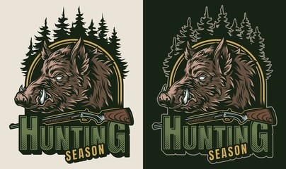 Vintage hunting colorful logo