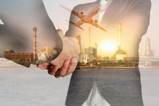 Double exposure of businesswomen double handshake, airplane, oil fuel, Electric generating factory or plant with sunset  as business, commitment, congratulation, welcome, industrial and energy concept