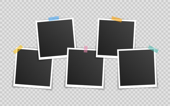 Vector Photo frame mockup design. Super set photo frame on sticky tape isolated on transparent background. Vector illustration