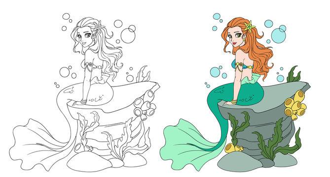 Illustration of a beautiful mermaid girl sitting on the stone.