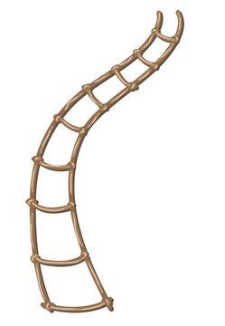 Rope-ladder. Cartoon style, Isolated image on a white background.