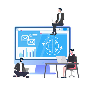 Monitor of laptop with information, chart and messages correspondence, globe and arrows. People working on development of data, coders programming. Vector illustration in flat cartoon style
