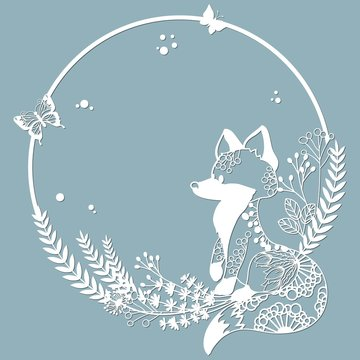 Fox in a round frame, with patterns, flowers, butterflies. Template for laser, plotter cutting, and screen printing. The pattern for the mirrors and panela.