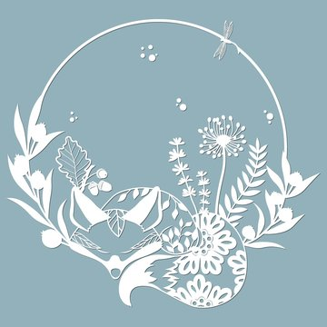 Sleeping Fox in a round frame, with patterns, flowers, butterflies. Template for laser, plotter cutting, and screen printing. The pattern for the mirrors and panels.