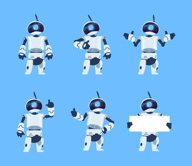Cute robots. Cartoon android character set, futuristic machine with different poses. Vector isolated illustration objects futuristic technological engineer work with humanoid characters