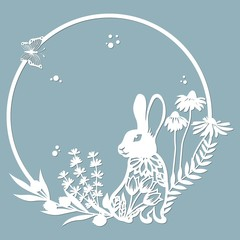 rabbit, hare in a round frame, with patterns, flowers, butterflies. Template for laser, plotter cutting, and screen printing. The pattern for the mirrors and panela.
