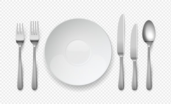 Realistic food plate with spoon, knife and fork. White empty dishes for cafe and restaurants. Cutlery vector top view illustration on transparent background
