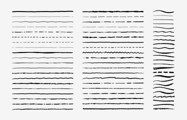 Fototapeta Hand drawn doodle brush lines. Vintage hand drawn underline border elements, pencil sketch stroke decoration. Vector illustrations monochrome pen marker scribble vintages ornament obraz