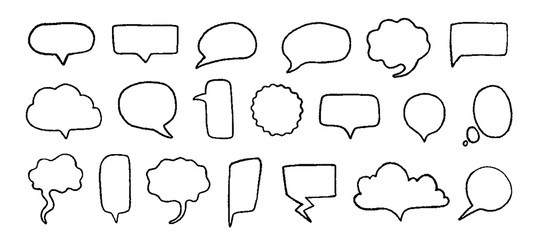 Doodle speech bubbles. Hand drawn elements for quotes and text with pencil sketch lines and grunge shapes. Vector trendy set sketched black line clouds for speaking or thinking expression