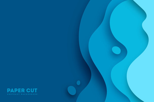Abstract blue paper cut vector realistic relief. Background template for banners, flyers, presentations. vector illustration