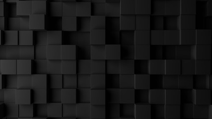 Dark squares abstract background. Realistic wall of cubes