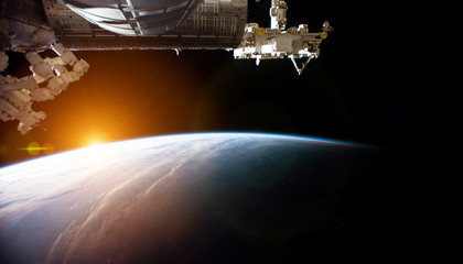 Fototapete - View of planet Earth from a space station window during a sunrise 3D rendering elements of this image furnished by NASA