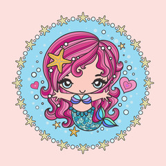 Sweet little mermaid. The picture is framed. Vector