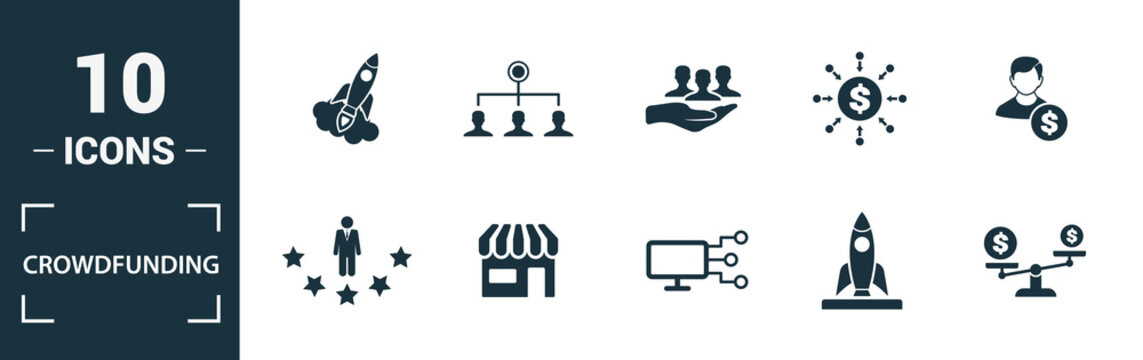 Crowdfunding icon set. Include creative elements marketplace, social participation, pre-release, rewards, funding platform icons. Can be used for report, presentation, diagram, web design