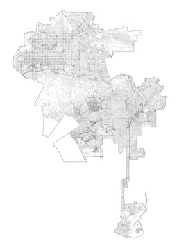 Satellite map of Los Angeles, streets, California, Usa. Map roads, ring roads and highways, rivers. Transportation map