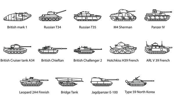 Set of Tank Icons Illustrations