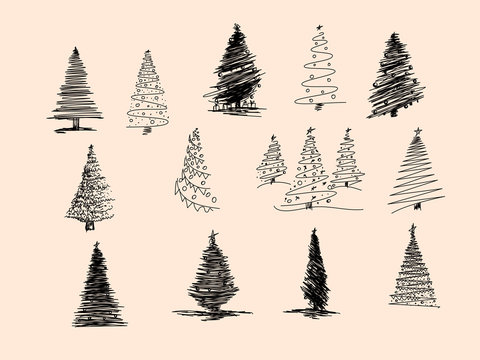 Set of Christmas tree hand drawn. Vector illustration. Hand drawn doodle sketch with ink. Vector illustration set