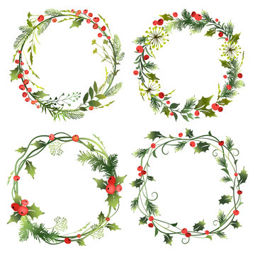 Set of decorative Christmas wreaths with mistletoe leaves, fir branches and holly berries. Vector illustration.