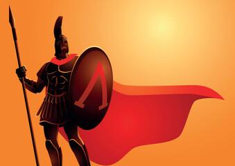 Ancient warrior wearing helmet and red cloak